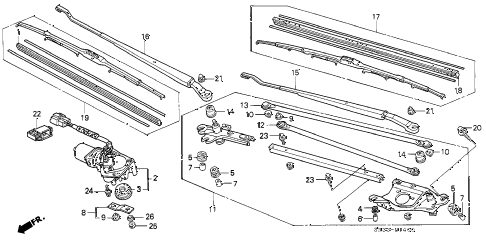 1995 civic DX 3 DOOR 5MT FRONT WIPER diagram