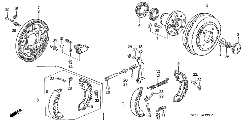 1992 civic VX 3 DOOR 5MT REAR BRAKE (DRUM) diagram
