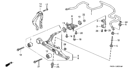 1993 civic SI 3 DOOR 5MT FRONT LOWER ARM diagram