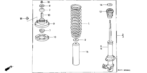 1992 civic DX 3 DOOR 5MT FRONT SHOCK ABSORBER diagram