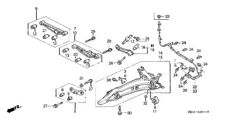 1992 civic CX 3 DOOR 5MT REAR LOWER ARM diagram
