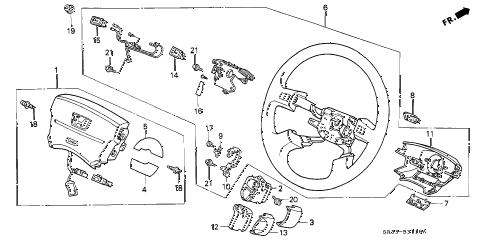 1994 civic SI(ABS) 3 DOOR 5MT STEERING WHEEL diagram