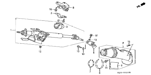 1995 civic DX 3 DOOR 5MT STEERING COLUMN diagram