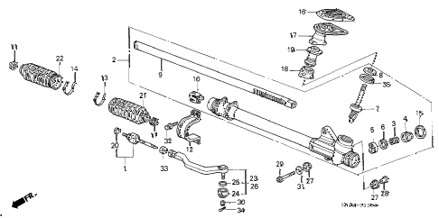 1992 civic DX 3 DOOR 5MT STEERING GEAR BOX diagram