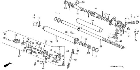 1995 civic SI 3 DOOR 5MT P.S. GEAR BOX COMPONENTS diagram