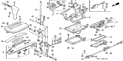 1995 civic DX 3 DOOR 4AT SELECT LEVER diagram