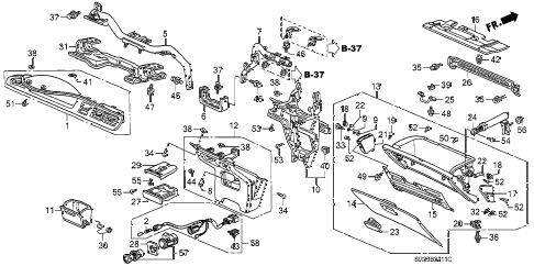 1995 civic VX 3 DOOR 5MT INSTRUMENT PANEL GARNISH (2) diagram