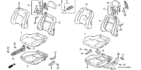 1994 civic VX 3 DOOR 5MT FRONT SEAT diagram