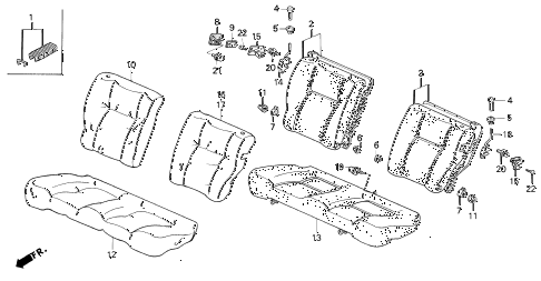 1995 civic DX 3 DOOR 4AT REAR SEAT diagram