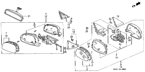 1994 civic CX 3 DOOR 5MT MIRROR diagram