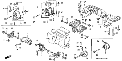 1993 civic CX 3 DOOR 5MT ENGINE MOUNT (1) diagram