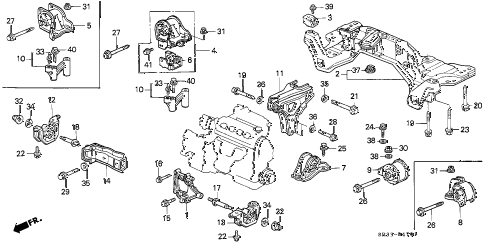 1993 civic DX 3 DOOR 4AT ENGINE MOUNT (2) diagram