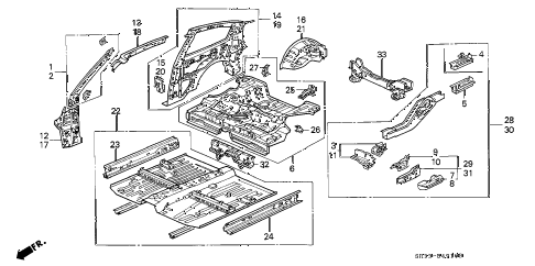 1992 civic CX 3 DOOR 5MT INNER PANEL diagram