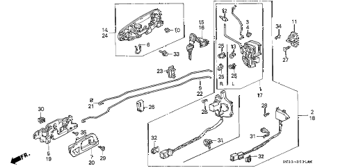 1992 civic VX 3 DOOR 5MT DOOR LOCK diagram