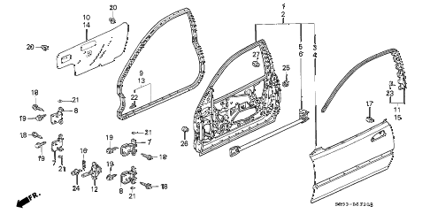 1995 civic CX 3 DOOR 5MT DOOR PANEL diagram