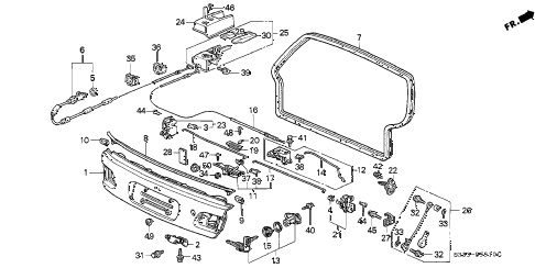 1995 civic CX 3 DOOR 5MT LOWER GATE diagram
