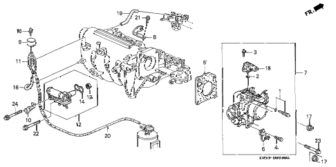 1992 civic CX 3 DOOR 5MT THROTTLE BODY (1) diagram