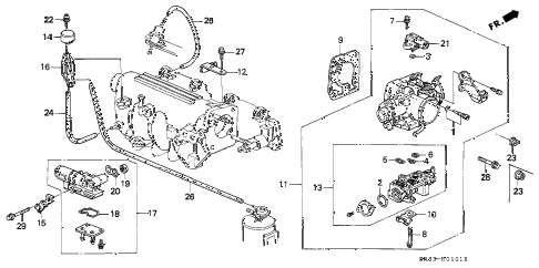 1995 civic DX 3 DOOR 4AT THROTTLE BODY (2) diagram
