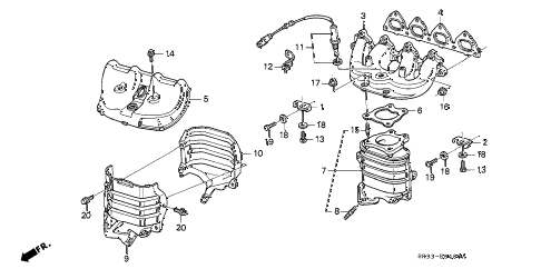 1992 civic VX 3 DOOR 5MT EXHAUST MANIFOLD (1) diagram