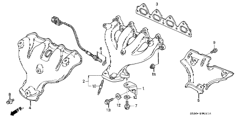 1993 civic DX 3 DOOR 4AT EXHAUST MANIFOLD (2) diagram