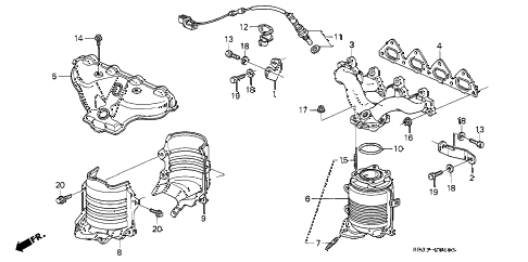 1995 civic VX 3 DOOR 5MT EXHAUST MANIFOLD (4) diagram