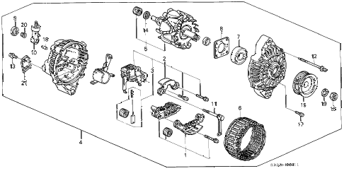 1992 civic DX 3 DOOR 5MT ALTERNATOR (MITSUBISHI) (1) diagram