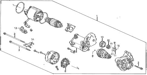 1992 civic SI 3 DOOR 5MT STARTER MOTOR (DENSO) (1) diagram