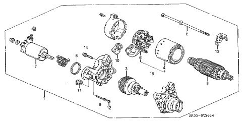 1995 civic DX 3 DOOR 4AT STARTER MOTOR (MITSUBA) (2) diagram