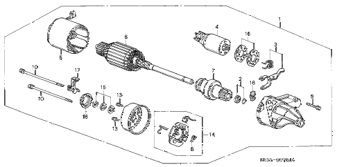1992 civic CX 3 DOOR 5MT STARTER MOTOR (HITACHI) diagram