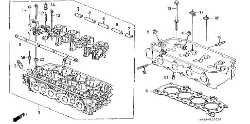 1995 civic DX 3 DOOR 5MT CYLINDER HEAD (1) diagram