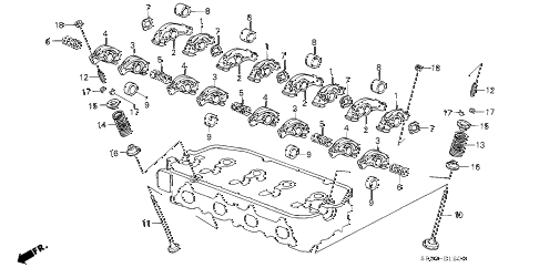 1994 civic DX 3 DOOR 4AT VALVE - ROCKER ARM (1) diagram