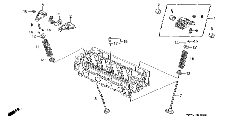 1992 civic SI 3 DOOR 5MT VALVE - ROCKER ARM (3) diagram