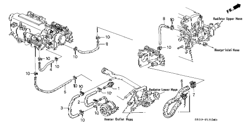 1992 civic CX 3 DOOR 5MT WATER HOSE (1) diagram