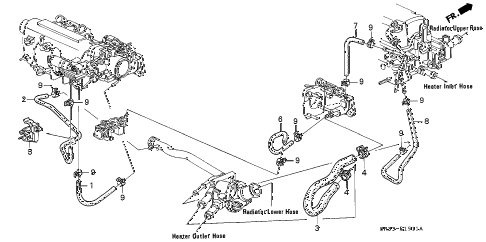 1993 civic DX 3 DOOR 5MT WATER HOSE (2) diagram