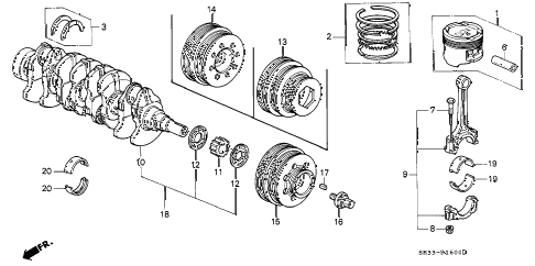 1993 civic DX 3 DOOR 5MT CRANKSHAFT - PISTON diagram