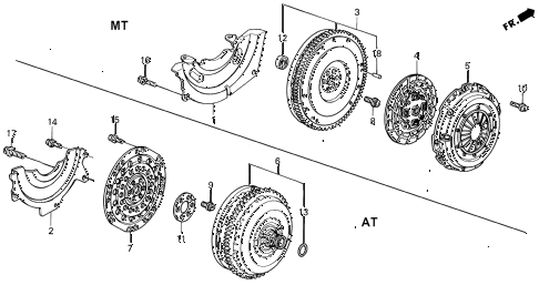 1992 civic SI 3 DOOR 5MT CLUTCH - TORQUE CONVERTER diagram