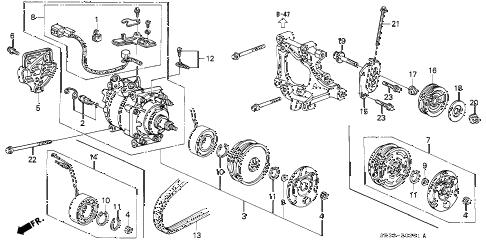 1993 civic DX 3 DOOR 4AT A/C COMPRESSOR (SANDEN) (2) diagram