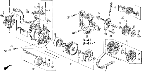 1994 civic DX 3 DOOR 5MT A/C COMPRESSOR (SANDEN) (3) diagram