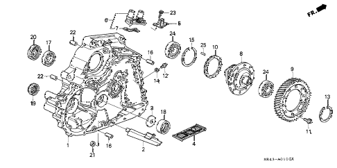 1994 civic LX(ABS) 4 DOOR 4AT AT TORQUE CONVERTER HOUSING  - DIFFERENTIAL diagram
