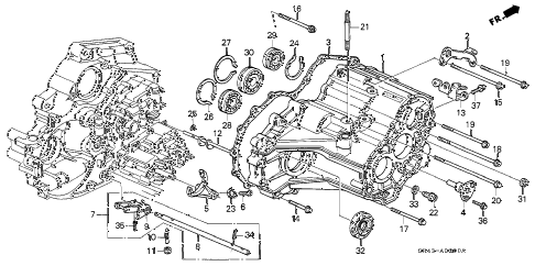 1995 civic LX 4 DOOR 4AT AT TRANSMISSION HOUSING diagram