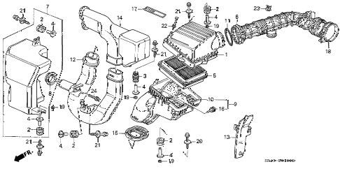 1993 civic EX(ABS) 4 DOOR 5MT AIR CLEANER diagram