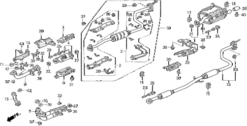 1993 civic EX(ABS) 4 DOOR 5MT EXHAUST SYSTEM diagram