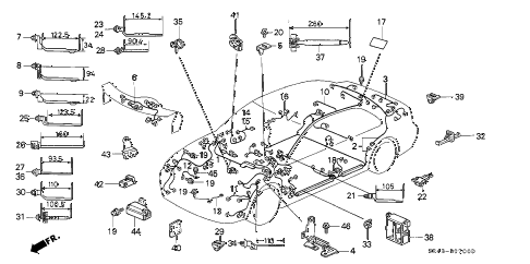 1994 civic LX 4 DOOR 4AT WIRE HARNESS diagram