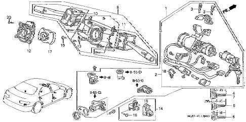 1994 civic LX 4 DOOR 5MT COMBINATION SWITCH diagram