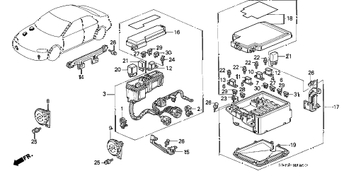 1993 civic DX 4 DOOR 5MT CONTROL UNIT (ENGINE ROOM) diagram