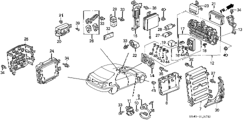 1994 civic DX 4 DOOR 4AT CONTROL UNIT (CABIN) diagram
