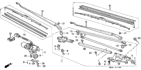 1994 civic LX(ABS) 4 DOOR 5MT FRONT WIPER (MITSUBA) diagram
