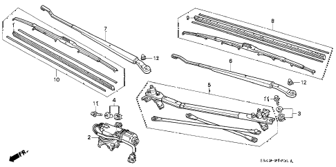 1995 civic LX 4 DOOR 4AT FRONT WIPER (DELCO) diagram