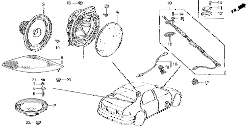 1995 civic DX 4 DOOR 5MT ANTENNA - SPEAKER diagram