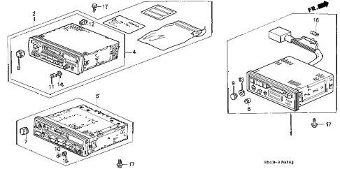 1995 civic EX(ABS) 4 DOOR 5MT AUTO RADIO diagram